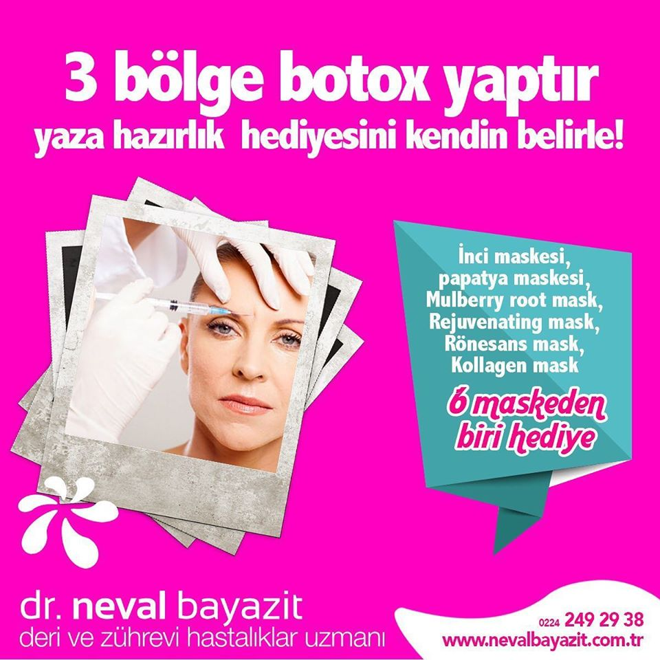 3 bölge botox yaptır yaza hazırlık hediyesini kendin belirle!